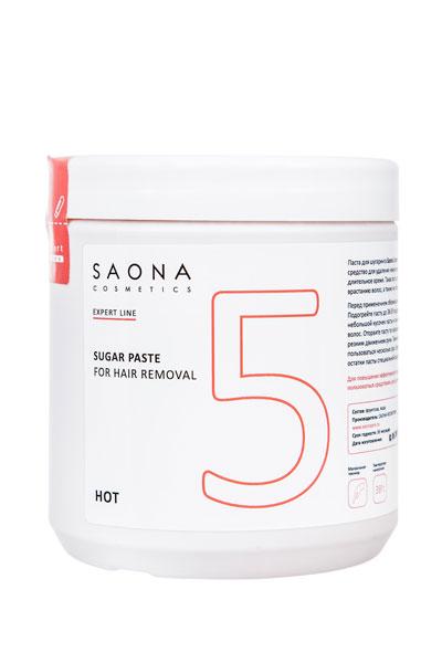Сахарная паста для шугаринга Saona Cosmetics 5 ПЛОТНАЯ (HOT), с разогревом